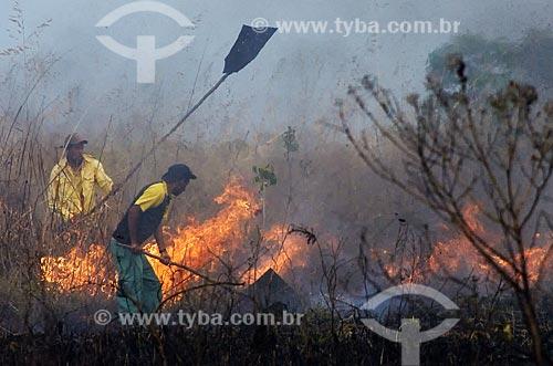 Assunto: Agentes florestais no combate a incêndio no Parque Nacional da Emas  / Local: Goiás (GO) - Brasil  / Data: 17/09/2007