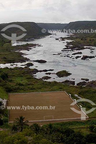 Assunto: Campo de futebol, na Cidade de Piranhas a margem do Rio São Francisco.  / Local:  Piranhas - Alto Sertão de Sergipe (SE) - Brasil  / Data: 07/2010
