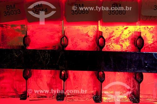Assunto: Coloração de lâminas com sangue para pesquisa de laboratório no DIPAT - INCA - Instituto Nacional do Câncer   / Local:  São Cristóvão, RJ  / Data: 09-2010