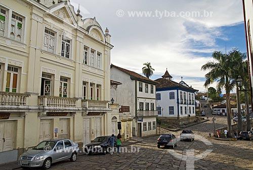 Assunto: Vista da parte comercial histórica da cidade, com a praça Juscelino Kubitschek ao fundo  / Local:  Diamantina - Minas Gerais - MG - Brasil  / Data: 12/2009