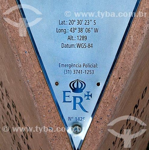 Assunto: Marco sinalizador da Estrada Real ou Caminho do Ouro    / Local:  Minas Gerais (MG) - Brasil  / Data: 12/ 2009