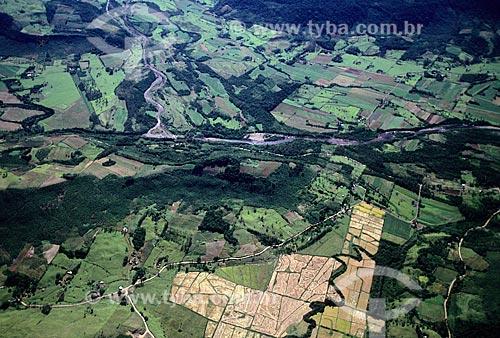 Assunto: Vista aérea das Montanhas Gaúchas como colcha de retalhos de culturas agrícolas  / Local:  Rio Grande do Sul - RS  / Data: 2008