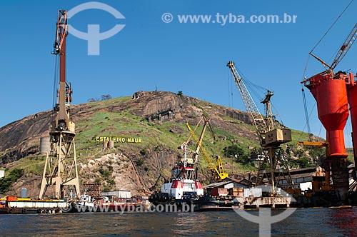 Assunto: Guindastes e rebocadores no Estaleiro Mauá, parte do Polo Naval de Niterói / Local: Ponta da Areia  -  Niterói  -  RJ  -  Brasil / Data: 02/2011