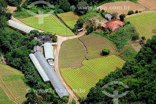 Assunto: Vista aérea de moradia rural e plantação agrícola na Região Serrana Fluminense / Local: Teresópolis - Rio de Janeiro (RJ) - Brasil / Data: 01/2011