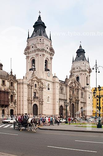Assunto: Catedral de Lima na Praça Maior de Lima (Plaza Mayor de Lima) ou Praça de Armas (Plaza de Armas) / Local: Lima - Departamento de Lima - Peru - América do SUl / Data: 24/05/2011