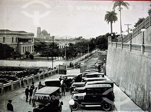 Assunto: Reprodução - Estacionamento da Estação do Funicular de Monte Serrat (1923 - acervo da Prefeitura de Santos)  / Local: Santos - São Paulo (SP) - Brasil / Data: 08/2011