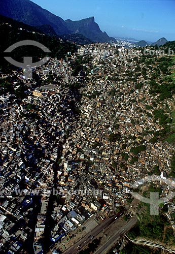 Assunto: Vista aérea da Favela da Rocinha / Local: São Conrado - Rio de Janeiro (RJ) - Brasil / Data: 1996