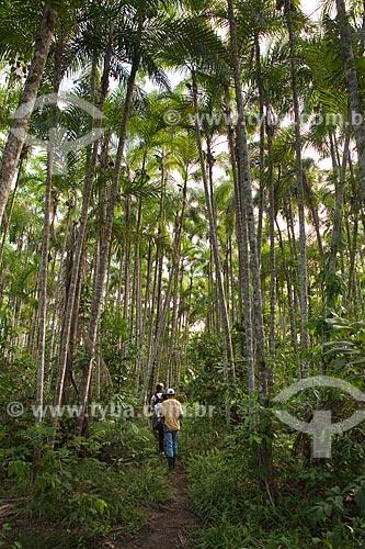 Assunto: Projeto Encauchados Vegetais - seringueiros em trilha na floresta - Reserva Extrativista Cazumbá / Local: Sena Madureira - Acre (AC) - Brasil / Data: 11/2011