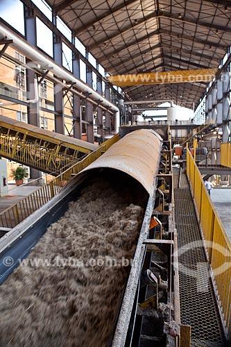 Esteira de transporte de bagaço de cana - Usina de Cogeração (açúcar, etanol e energia elétrica) da empresa Guarani  - Olímpia - São Paulo (SP) - Brasil