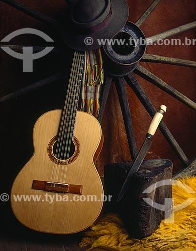Assunto: Violão em galpão gaúcho / Local: Estúdio / Data: 09/2009