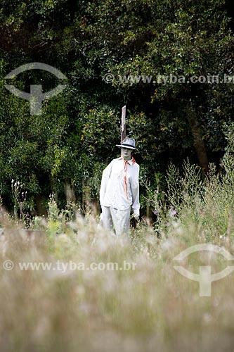 Assunto: Espantalho na plantação de Arroz em Laranjal / Local: Pelotas - Rio Grande do Sul (RS) - Brasil / Data: 02/2012