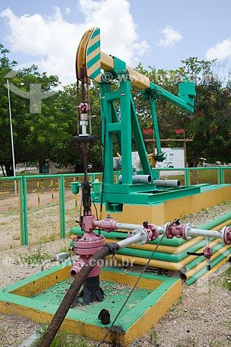 Unidade de bombeio de petróleo no poço 9-MO-014-RN - Primeiro poço de petróleo terrestre explorado comercialmente no Brasil - Localizado na propiedade do Hotel Thermas de Mossoró - Em atividade desde 1980 e a partir de 2004 opera movido a energia solar  - Mossoró - Rio Grande do Norte - Brasil