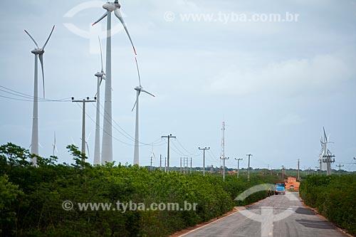 Assunto: Aerogeradores no Parque Eólico de Alegria / Local: Guamaré - Rio Grande do Norte (RN) - Brasil / Data: 03/2012