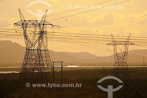 Assunto: Torres de transmissão de energia elétrica gerada no Complexo Hidrelétrico de Paulo Afonso - construído e projetado pela CHESF / Local: Paulo Afonso - Bahia (BA) - Brasil / Data: 06/2012