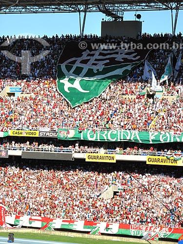 Assunto: Torcida do Fluminense no estádio Olímpico João Havelange (Engenhão) durante o jogo Fluminense x Cruzeiro / Local: Engenho de Dentro - Rio de Janeiro (RJ) - Brasil / Data: 11/2012