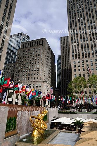 Assunto: Estátua de Prometeus no Rockefeller Plaza / Local: Manhattan - Nova Iorque - Estados Unidos - América do Norte / Data: 09/2010