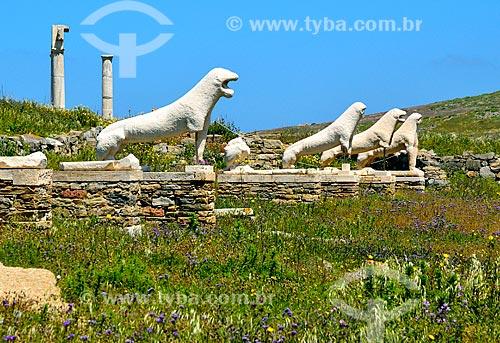 Assunto: Estátuas no Terraço dos leões / Local: Ilha de Delos - Míconos - Grécia - Europa / Data: 04/2011