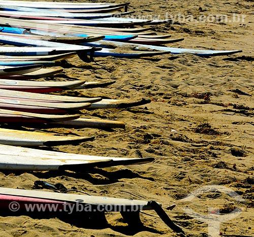 Assunto: Pranchas de Surf na Will Rogers State Beach (Praia Will Rogers) / Local: Santa Mônica - Califórnia - Estados Unidos da América - América do Norte / Data: 08/2011