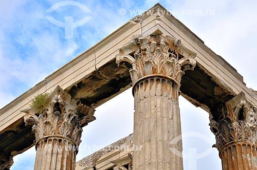 Assunto: Detalhes das colunas do Templo de Zeus Olímpico / Local: Atenas - Grécia - Europa / Data: 04/2011