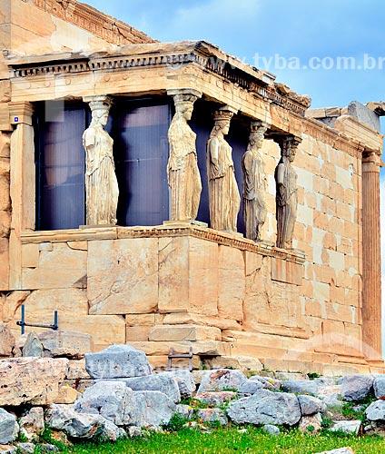 Assunto: Cariátides - colunas em forma de mulher - no Erecteion - templo dedicado à Atena, Hefesto e Erecteu / Local: Atenas - Grécia - Europa / Data: 04/2011
