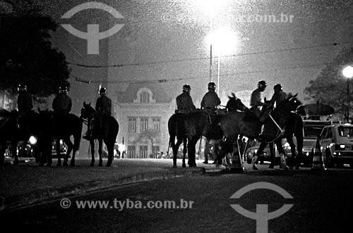 Assunto: Tropa de choque durante o movimento pela anistia no Largo São Francisco / Local: São Paulo (SP) - Brasil / Data: 1978