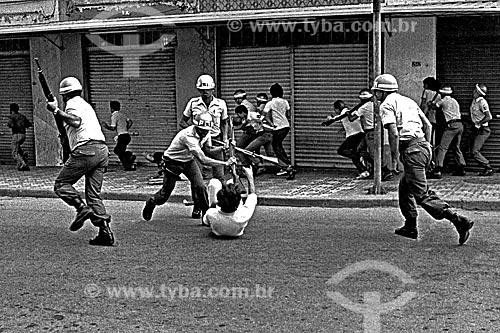 Assunto: Repressão policial à greve dos Metalúrgicos do ABC / Local: São Bernardo do Campo - São Paulo (SP) - Brasil / Data: 1980
