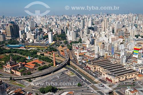 Assunto: Vista aérea do Mercado Municipal de São Paulo - a direita - com o Viaduto Diário Popular sobre o Rio Tamanduateí / Local: Sé - São Paulo (SP) - Brasil / Data: 02/2013