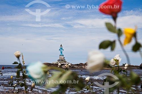 Assunto: Flores na Praia do Recôncavo com a estátua de Yemanjá ao fundo / Local: Sepetiba - Rio de Janeiro (RJ) - Brasil / Data: 02/2013