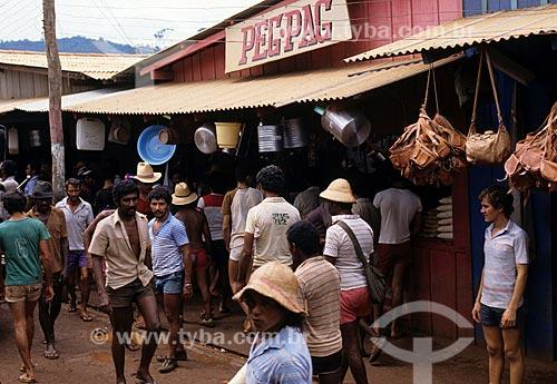 Assunto: Comércio próximo ao garimpo de Serra Pelada / Local: Distrito de Serra Pelada - Curionópolis - Pará (PA) - Brasil / Data: Década de 80