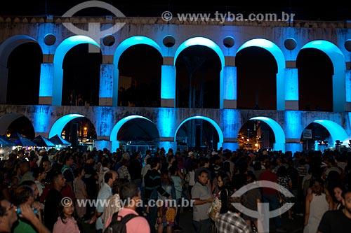 Assunto: Projeção de luzes nos Arcos da Lapa (1750) durante a festa em comemoração aos 50 anos das Loterias da Caixa Econômica Federal / Local: Lapa - Rio de Janeiro (RJ) - Brasil / Data: 09/2012