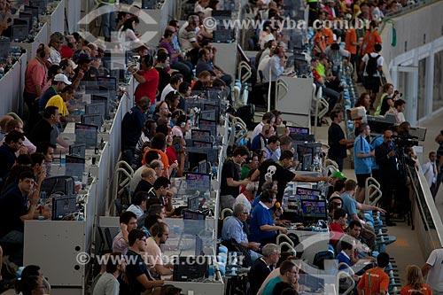 Assunto: Espaço reservado para à imprensa no Estádio Jornalista Mário Filho - também conhecido como Maracanã - durante o jogo amistoso entre Brasil x Inglaterra / Local: Maracanã - Rio de Janeiro (RJ) - Brasil / Data: 06/2013