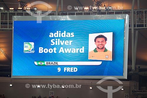 Imagem do telão do Maracanã - jogador Fred anunciado como ganhador do prêmio chuteira de prata pelos 5 gols marcados durante a Copa das Confederações  - Rio de Janeiro - Rio de Janeiro - Brasil