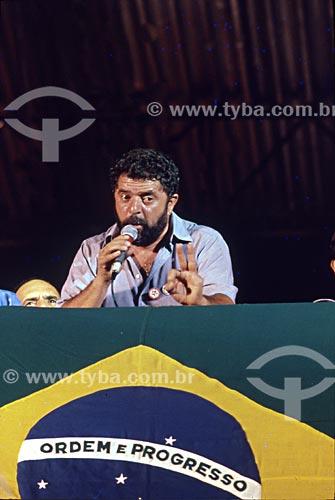 Assunto: Discurso de Luiz Inácio Lula da Silva durante a Campanha das Diretas Já na Candelária / Local: Centro - Rio de Janeiro (RJ) - Brasil / Data: 1989