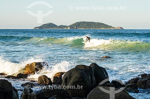 Assunto: Surfista na Praia do Morro das Pedras com a Ilha do Campeche ao fundo / Local: Florianópolis - Santa Catarina (SC) - Brasil / Data: 07/2013