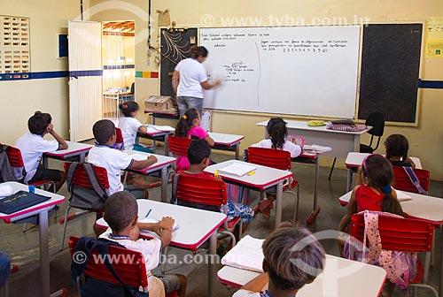 Assunto: Sala de aula de Escola Estadual Indígena da etnia Kapinawá na aldeia ou comunidade Malhador - Imagem licenciada -  ACRÉSCIMO DE 100% SOBRE O VALOR DE TABELA / Local: Buíque - Pernambuco (PE) - Brasil / Data: 06/2013
