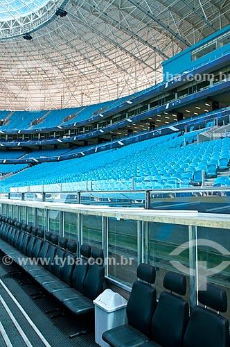 Assunto: Poltronas na área técnica da Arena do Grêmio (2012) / Local: Humaitá - Porto Alegre - Rio Grande do Sul (RS) - Brasil / Data: 04/2013