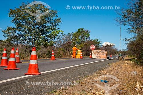 Assunto: Interdição na Rodovia BR-135 - também conhecida como Transpiauí - próximo à Cariparé / Local: Cariparé - Bahia (BA) - Brasil / Data: 07/2013
