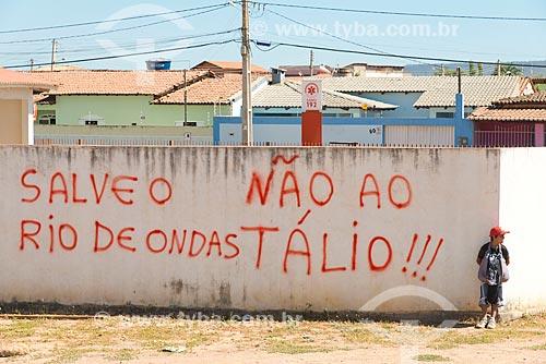 Assunto: Pixação contra a exploração do Tálio - metal raro encontrado na região / Local: Barreiras - Bahia (BA) - Brasil / Data: 07/2013