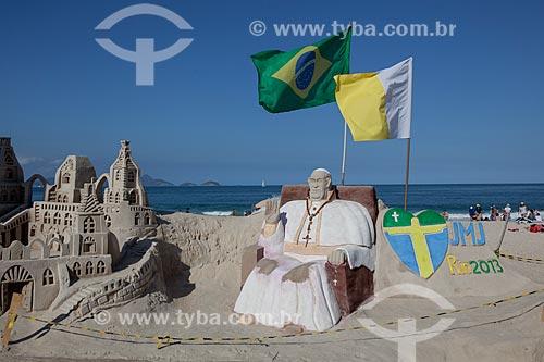 Assunto: Escultura em areia do Papa Francisco na Praia de Copacabana durante a Jornada Mundial da Juventude (JMJ) / Local: Copacabana - Rio de Janeiro (RJ) - Brasil / Data: 07/2013