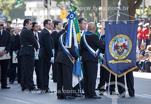 Membros da Grande Loja Maçônica do Estado do Rio de Janeiro - fundada em 22 de junho de 1927 - no desfile em comemoração ao Sete de Setembro na Avenida Presidente Vargas  - Rio de Janeiro - Rio de Janeiro - Brasil