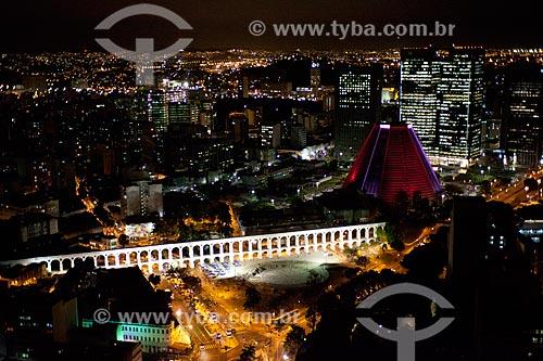 Assunto: Foto aérea dos Arcos da Lapa (1750) e da Catedral de São Sebastião do Rio de Janeiro (1979) / Local: Centro - Rio de Janeiro (RJ) - Brasil / Data: 04/2011