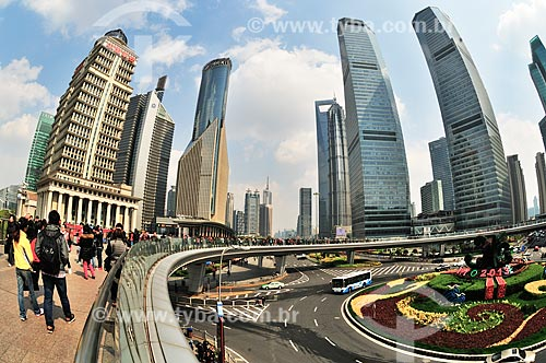Assunto: Vista do Distrito de Pudong / Local: Xangai - China - Ásia / Data: 04/2013