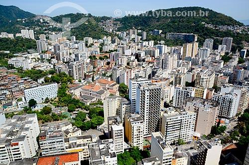 Assunto: Foto aérea de Laranjeiras com a Favela Tavares Bastos fundo / Local: Laranjeiras - Rio de Janeiro (RJ) - Brasil / Data: 11/2013