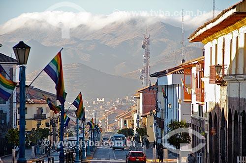 Assunto: Rua da cidade de Cusco enfeitada para o Inti Raymi - festival religioso da civilização Inca em homenagem a Inti, o deus-sol, que marca o solstício de inverno / Local: Cusco - Peru - América do Sul / Data: 06/2012