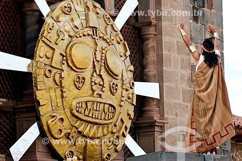 Assunto: Encenação do sacrifício ao deus-sol durante o Inti Raymi - festival religioso da civilização Inca em homenagem a Inti, o deus-sol, que marca o solstício de inverno / Local: Cusco - Peru - América do Sul / Data: 06/2012