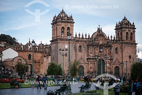 Assunto: Vista da Catedral Basílica de la Virgen de la Asunción (Catedral Basílica da Virgem de Assunção) - 1664 - a partir da Plaza de Armas (Praça das Armas) / Local: Cusco - Peru - América do Sul / Data: 12/2011
