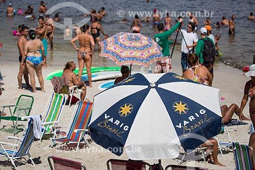 Assunto: Barraca de praia com a logomarca da VARIG na Praia da Urca / Local: Urca - Rio de Janeiro (RJ) - Brasil / Data: 01/2014