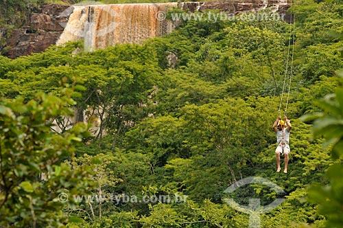 Assunto: Tirolesa no Parque Natural Municipal Salto do Sucuriú / Local: Costa Rica - Mato Grosso do Sul (MS) - Brasil / Data: 02/2014