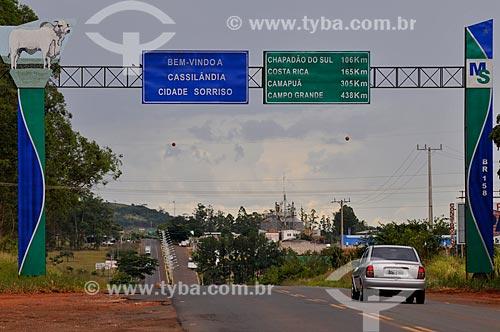 Assunto: Portal da cidade de Cassilândia - Rodovia BR-158 / Local: Cassilândia - Mato Grosso do Sul (MS) - Brasil / Data: 02/2014
