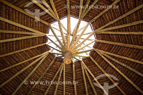 Assunto: Cobertura em palha da oca do Núcleo de Educação Intercultural da Universidade Federal de Goiás / Local: Goiânia - Goiás (GO) - Brasil / Data: 05/2014